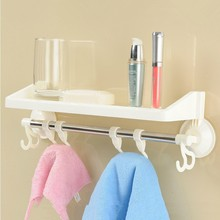 3 Color Plastic Towel Bar Suction Wall Linked Hook Towel Racks Towel Rings For Bathroom Storage Hanger Bathroom Accessories Set(China)