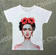 Track Ship+Vintage Retro Good Feeling T-shirt Top Tee Young Pink Naked Frida Artist Drawing Two Peony Flower 0942