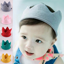 Crown Baby Girl Boy Hats Solid Color Lovely Diamond Toddler Caps Woolen Yarn Knitted Infant Cap For Bab Handmade baby Caps
