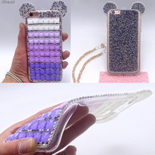 New Hot Fashion Bling Phone Cases 3D Glitter Mouse Ear Shinny TPU Diamond Crystal Shell Cover For iPhone 7 7plus 6 6 plus Case