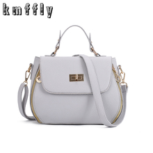 KMFFLY Women PU Leather Shoulder Bags Female Black Pink Messenger Bags Solid Zipper Top-Handle Bags Crossbody Bags For Women D-5