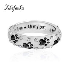 1PC Pet Dog Claw Crystal Ring For Women When I Am With My Pet Animal Pet Ring Dog Paw Footprints Ring Jewelry(China)