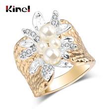 Kinel Hot 2017 Fashion Pearl Ring Gold Color Retro Unique Women's Rings Vintage Jewelry Luxury Christmas Gift(China)