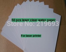 (50 sheets/lot) A4 clear/transparent laser waterslide transfer printing paper laser water decal paper for flowers