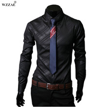 WZZAE 2017 New High Quality Mens Designer Stripes Dress Shirts Tops Casual Slim Long Shirts 14 Color Size M-5XL Free Shipping