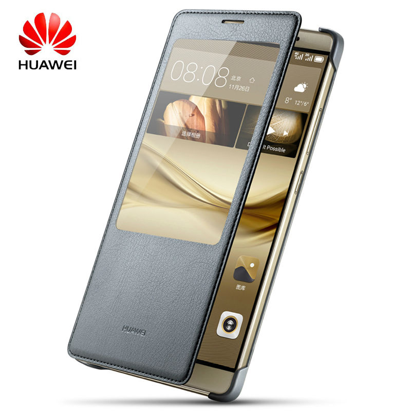 100% Original Huawei Mate 8 Flip Case Leather Housing For Ascend Mate 8 Protective Cover Smart Window View Auto wake up Shell(China)