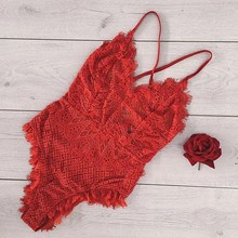 Buy Women Deep V Neck Eyelash Lace Bodysuit Sexy Lingerie Nightwear Sleepwear Dress G-string Underwear Eyelash Bodysuit