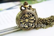 free shipping dragonfly pocket watch necklace,retro necklace 50pcs/lot wholesale,Gift Watch, Fast Delivery(China)