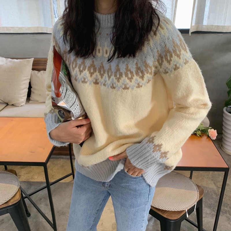秋コートレディースセーター 2019 冬原宿韓国のファッション人格ヴィンテージ幾何ニットクリスマスのセーターの女性