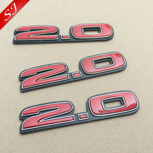 20pcs Hot sale 2.0 3D Chrome ABS logo red Car Stickers Emblem Badge rear trunk Displacement decorative Decals accessories(China)