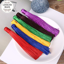 LINSOIR 10pcs/lot 12cm Polyester Silk Tassel Earrings Charms Chinese Knot Cotton Tassels For Jewelry Making DIY Borlas Piel(China)