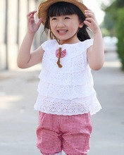 Kids Summer Style Lace T-Shirt And Lattice Shorts Pants Children Clothing Set Girl Clothes Sets