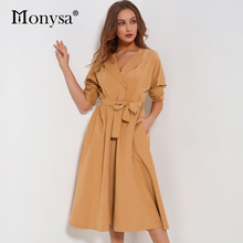 Suede Women Dress Autumn 2017 New Fashion V Neck Long Sleeve Dress Women Casual Blue Green Khaki Pleated Midi Dress With Belt