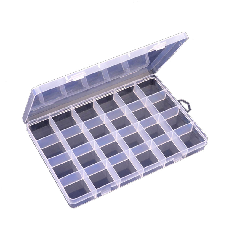 ONNPNNQ Clear Plastic 24 Slots Adjustable Jewelry Nail Art Rhinestone Empty Storage Box Case Craft Travel Organizer Bead Holder2