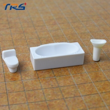 Teraysun Scale model building materials Model Sanitary,Basin,Bathtub Sets 1:30 Miniature Bathroom Sanitary for sale(China)