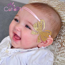 CUTIEPIE Cute Gold Glitter Bowknot Headband with Pink Hairband Birthday Party DIY Ornaments Hair Decoration Photo Backdrop