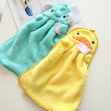 QianQuHui Lovely Cartoon Children Hand Dry Towel Kids Kitchen Bathroom Kid Soft Plush Fabric Hang Towels