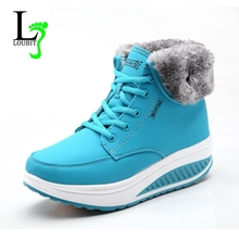 Women Boots With Fur 2017 Winter Ankle Boots Wedges Women Warm Shoes Fashion Snow Boots High Quality Fur Shoes Femal Footwear