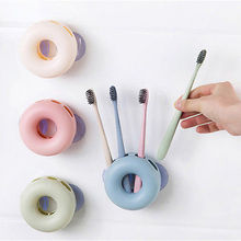 Lovely Donuts Toothpaste Storage Rack Toothbrush Holder Wall Mounted Stand Suction Cup