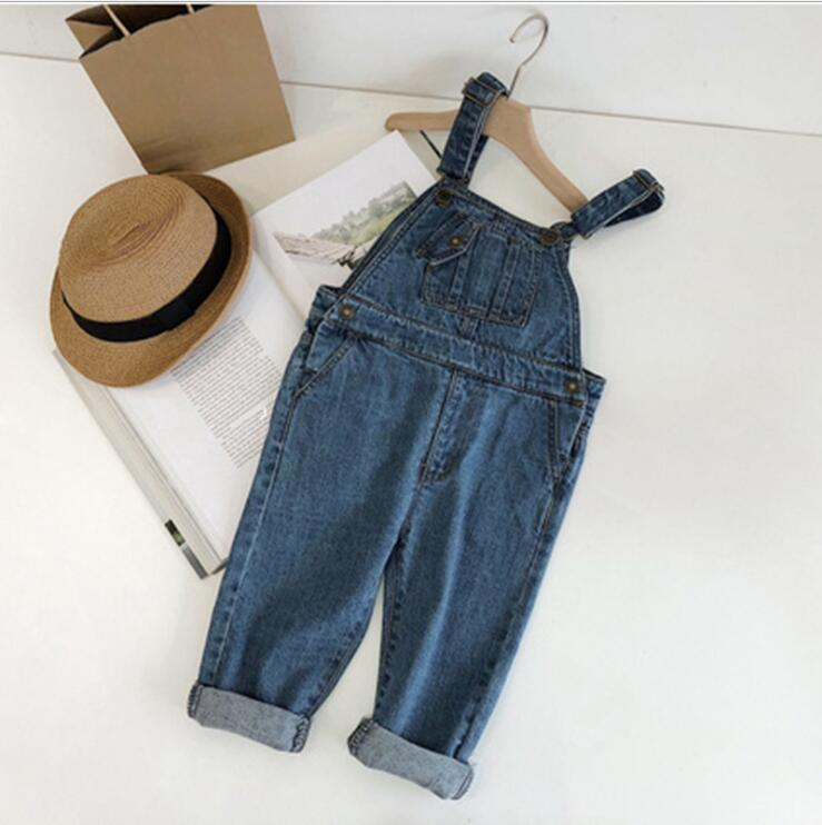 2019  New Wholesale Fashion  Girls Boys Denim Overalls Spring  Kids Jean  Pants 1-6t PF429