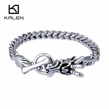 Kalen New Russian Men's Fashion Stainless Steel Dragon Bracelets Hip Hop Jewelry Cheap Accessories From China Manufacturer(China)