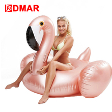 DMAR 150cm 59inch Inflatable Flamingo Rose Golden Giant Pool Float Toys Swimming Ring Circle Inflatable Mattress For Beach Party(China)