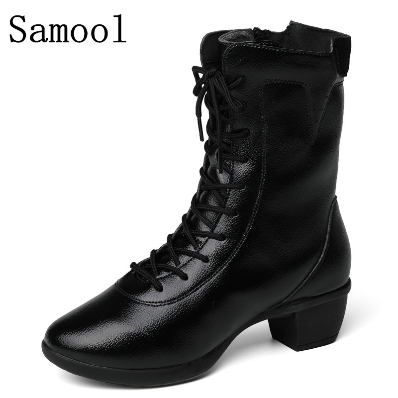 2017 New Winter Women High Heel Boots High Quality Solid Lace-up European Ladies Shoes Genuine Leather Fashion Ankle Boots<br>