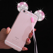 Mobile Phone Case For iPhone 7 5 6 s SE 5s 6s Plus 6Plus 7Plus Cover Fashion 3D Ears Silicon TPU Glitter Crystal Lanyard Strap