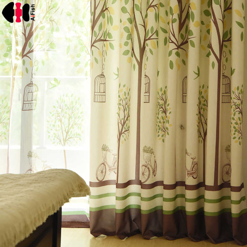 Fresh Rustic Minimalist  Cotton Linen Window Treatment Drapes Blackout Curtains for Marriage Room Bedroom WP252C