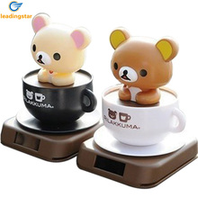 LeadingStar Solar Power Coffee Cup Little Bear Doll Car Sharking Head Toys Automobile Decoration Color Random-zk 30%