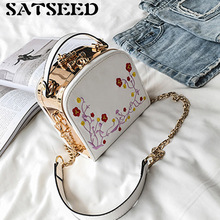 Women Bag 2017 Female Camera Bag Flower Embroidery Handbag Fashion Web Celebrity Chain Shoulder Bag New