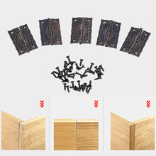 10pcs 37X24X2MM Cabinet Door Butt Hinges Mini Drawer Bronze Decorative Mini Hinges Hand Tools Hardware For Furniture +Screws