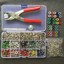 1pc Plier+1set Eyelets Tool+100sets 10 Colors 9.5mm Prong Snap Buttons Fasteners Press Studs Poppers Buckle+200pcs 5mm Eyelets