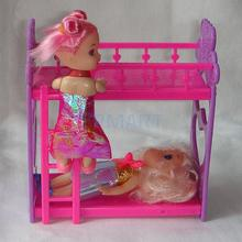 1Pcs Doll Accessory Bunk Bed Random Color(China)