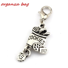 Hot Sale ! 10pcs Antique Silver Alloy cookies Charm With lobster clasp Fit Charm Bracelet DIY Jewelry 13 x 41mm nm363(China)