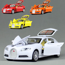 Collectible Alloy Diecast White Car Model 1/32 Bugatti Veyron 16C Galibier with light&sound Pull Back Cars Model Kids Toys Gifts
