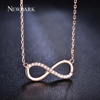 NEWBARK Romantique Nombre Infini 8 Pendentif Collier Avec Minuscule Zircon Rose Plaqué Or Bijoux De Mode Pour Les Femmes