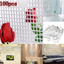 2016 Hot Sell New Acrylic Square Crystal Mosaic Wall Sticker 100pcs 3d Mirror Stickers Wall Paper Diy Gift DIY Home Decor5ZCF004