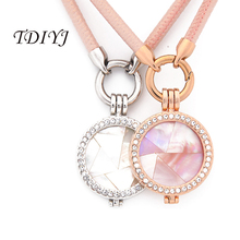 TDIYJ New Arrival My Coin 45CM Pink Leather Cord Necklace with 33MM Interchangeable Shell My Coin Holder Pendants for Women 1Set