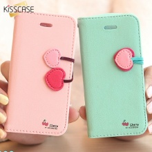 KISSCASE For iPhone 5 5S Stand Wallet Cases Cute Cherry Flip leather Case For iPhone 5 5S SE 5G 5C 4S 4 Card Slot Holster Cover
