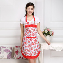 2017 Fashion korean aprons tablier cuisine kitchen apron hang neck style female using sleeveless rose flower pattern design(China)