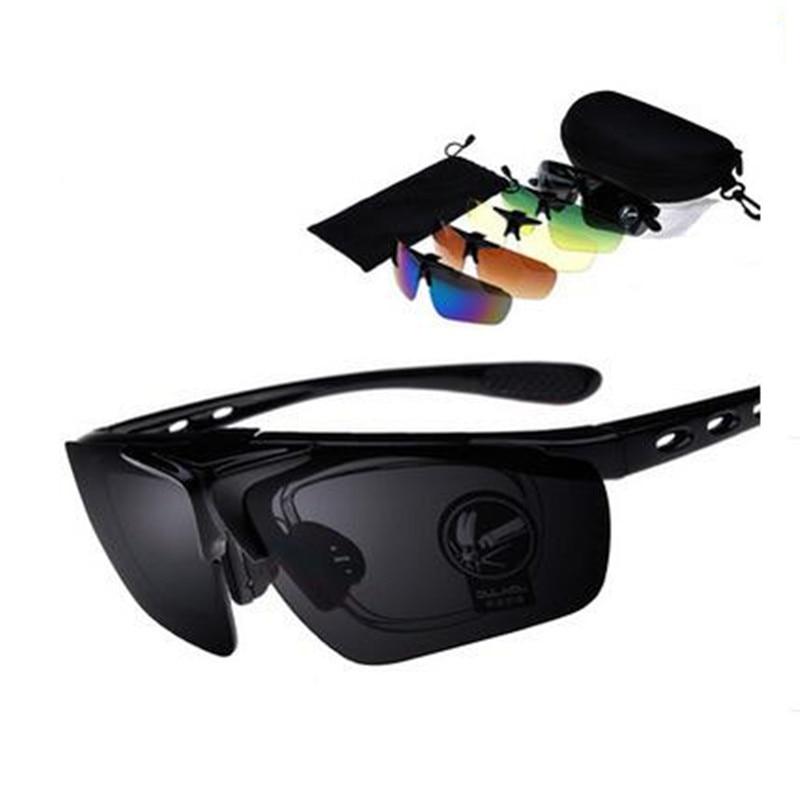 1 set 5 Lens Brand Polarized Polarised Sports Glasses Sets New Mens Travel Sunglasses  de sol lunettes de soleil Yellow Black<br><br>Aliexpress