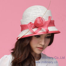 Free Shipping Women Hat Summer Dress Fashion Straw Hat Sinamay Ribbons Black Sinamay Sun-Shading Bucket Hat Feather Bar Cloche(China)