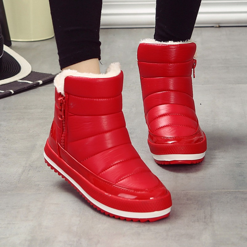 2017 New Arrival Womens Boots for Winter Ankle Boots for Women  Shoes Comfortable Zip Female Footwear Red<br>
