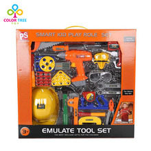 Children Carpentry Repair Tool Toy Set with Safety Helmet