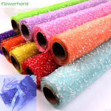 50cm 4Yards/roll Snowflake Tulle Yarn Flowers Packaging Wrapping Paper Packing Materials Wedding Decoration Festive Supplies(China)