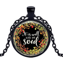Caxybb Brand It Is Well with My Soul Glass Cabochon Necklace Religious Jewelry Bible Quote Jewelry Gift for Her necklace