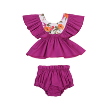 Hot sell girls elegant clothes set floral clothing sets with  purple shirt + flower pants high quality children Summer clothes