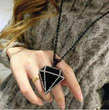 Korean Fashion Long Black Beads Chain Big Rhinestone Black Crystal Diamonds Necklace & Pendants Sweater Chain For Women Gifts OL