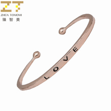 Fashion Rose Gold/silver/gold Color Engraving Letters Love Adjustable Big/small Open Charm Cuff Bracelets Bangles Women Jewelry(China)
